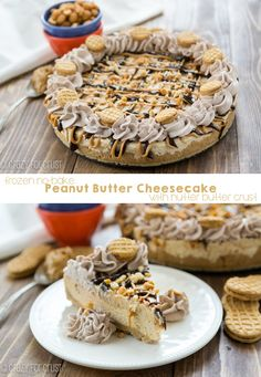 No Bake Frozen Peanut Butter Cheesecake {nutter butter crust} - Crazy for Crust Frozen Desserts, Frozen Treats, No Bake Desserts, Easy Desserts, Delicious Desserts, Dessert Recipes, Yummy Food, Peanut Butter Cheesecake, Peanut Butter Recipes