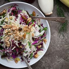 Red cabbage, radicchio and endive join fennel, raisins and toasted walnuts in this crunchy winter salad. I don't know why it's taken me quite so long to write about red cabbage. It's a powerhouse ...