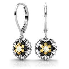 Lucia Costin Sterling Silver White/ Black Swarovski Earrings