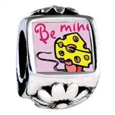 Valentine\'s Day be Mine Photo Flower Charms  Fit pandora,trollbeads,chamilia,biagi,soufeel and any customized bracelet/necklaces. #Jewelry #Fashion #Silver# handcraft #DIY #Accessory