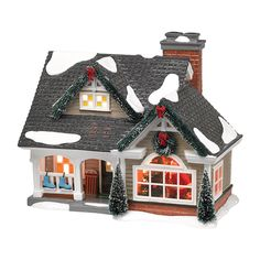 """Department 56 - Snow Village, The Magic Of Christmas Introduction - May, 2014 Size: 6.5 x 6.7 x 8.2"""" Special Interior Scene – Peek Inside! Santa, dressed in red and white fur, unloads his big bag.  True to Snow Village décor, the tree is trimmed with oversized shiny red ball ornaments and silver metallic tinsel. Keep peeking inside; notice the decal work on the walls, a Black Forest Coo-Coo Clock, and a fireplace complete with tiny Village on the mantle."""