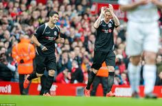 Two former Liverpool strikers entered the field as half-time substitutes, with Luis Suarez...