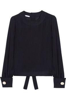 Oscar de la Renta Stitch-trimmed silk blouse | NET-A-PORTER