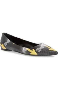 Prada 'Graffiti' Pointy Toe Leather Ballerina Flat Sz It 39 US 9 $690 | eBay