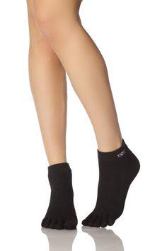 Mens and Ladies 1 Pair ToeSox Lightweight Full Toe Ankle Sports Socks In Black