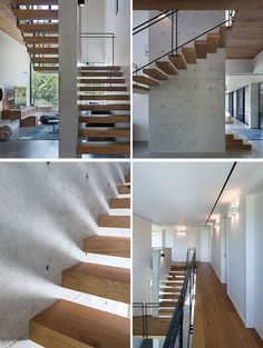 Wood stairs with a black steel and mesh handrail wrap around a concrete wall and lead to the second floor of this modern house. Upstairs, a wood walkway connects the various rooms. #ModernStairs #WoodStairs