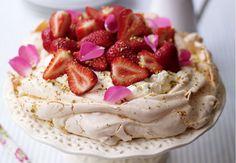 Strawberry, rose petal and pistachio pavlova   - housebeautiful.co.uk