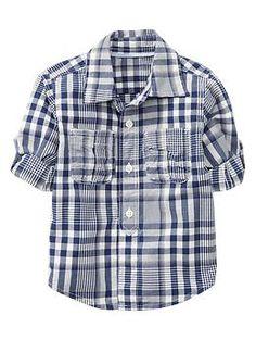 Convertible plaid popover shirt | Gap