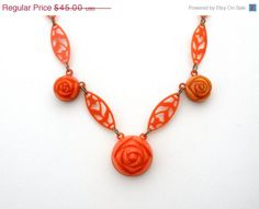 Spring Sale Art Deco Celluoid Rose Necklace Hand Made 15.5