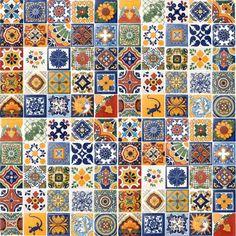 100 Asorted Mexican Ceramic Tiles 4x4 Talavera Handmade Handpainted Tile #005