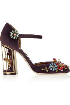 Dolce & Gabbana|Crystal-embellished velvet pumps|NET-A-PORTER.COM