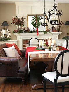 I have always loved a couch or loveseat as seating at a dining room table - it says come and stay a while
