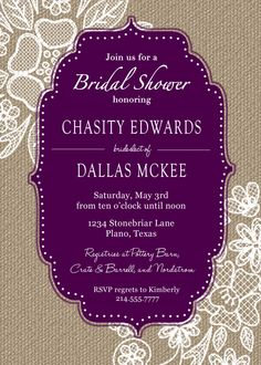 Burlap and Lace Bridal Shower Invitation  by KPickensDesigns