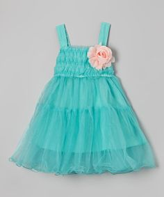 Another great find on #zulily! Turquoise Flower Ruffle Babydoll Dress - Girls by Di Vani #zulilyfinds