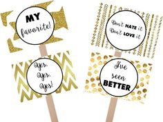 Instant Download: Say Yes to the Dress black and gold favorite sign, yes to dress paddle, wedding dress shopping signs by GrandWayPress on Etsy