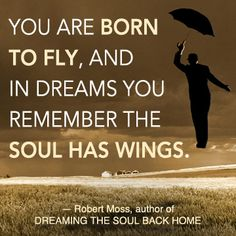 """You are born to fly, and in dreams you remember the soul has wings."" -Robert Moss"