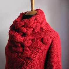 hand knit cardigan RIONA S size coat red wool cowl neck irregular Knit Fashion, Fashion Fabric, Fabric Gift Bags, Chunky Wool, Knit Cardigan, Cardigan Sweaters, Cable Sweater, Grey Sweater, Cardigans