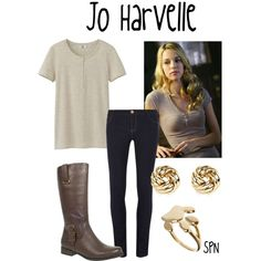 """Jo Harvelle"" her outfit is so simple! Supernatural Cosplay, Supernatural Halloween Costumes, Jo Supernatural, Supernatural Clothes, Supernatural Inspired Outfits, Supernatural Fashion, Casual Cosplay, Cosplay Outfits, Date Outfits"