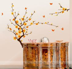 Cherry Blossom Branch Floral Wall Stickers