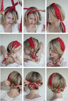 The Polka Dot Pigtails, Bandana Hairstyle[ Quick And Easy Hairstyles For School : Cute Hairstyles You Can Do With A Scarf- The Polka Dot Pigtails - Try These Super Easy Haircuts And Hair StylesComment nouer un foulard rectangulaire dans les cheveux ? Medium Hair Styles, Curly Hair Styles, Natural Hair Styles, Hair Styles With Bandanas, Bandana Styles, Hair Scarf Styles, Medium Curly, Updo Styles, Ponytail Styles