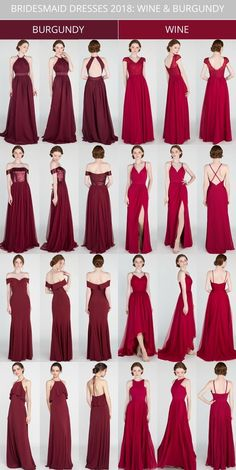 Your leading ladies will be prepared for a full day's festivity with these standout variety of bridesmaid long dresses. burgundy and wine bridesmaid dresses 2018 Check different bridesmaid outfit shades of color and lengths by using changeable patterns. Emerald Bridesmaid Dresses, Red Bridesmaids, Bridesmaid Dress Styles, Wedding Dresses, Prom Dresses, Bridesmaid Outfit, Long Dresses, Formal Dresses, Vestidos Color Vino