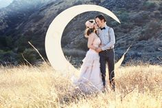 Crescent Moon Backdrop with Glitter and Bench