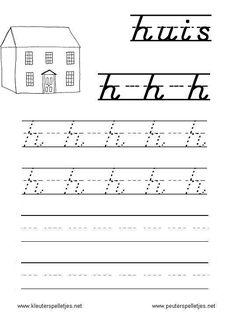 LETTER H | letters leren herkennen en schrijven, alfabet printbladen a t/m z