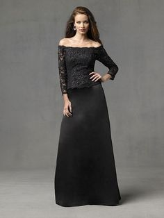Adorable Off-the-shoulder Black Lace Floor Length Column Mother Of Brides Dress In Canada Mother of Bride Dress Prices
