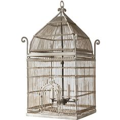 Orientaliste style white painted metal bird cage... ❤ liked on Polyvore