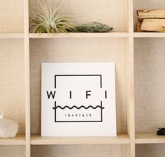 Add a small print to a bookshelf or fridge that displays your wifi password for guests.