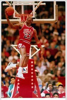 Michael Jordan of the Chicago Bulls performs in the NBA All-Star Weekend Slam Dunk Contest on February 1988 at The Chicago Stadium in Chicago, Illinois. Get premium, high resolution news photos at Getty Images Michael Jordan Basketball, Art Michael Jordan, Michael Jordan Pictures, Basketball Is Life, Jordan 23, Basketball Legends, Basketball Sneakers, Basketball Pictures, Basketball Players