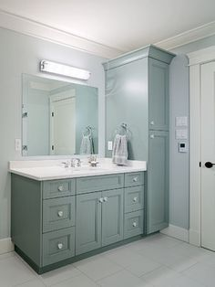 Master bath vanity and tall cabinet