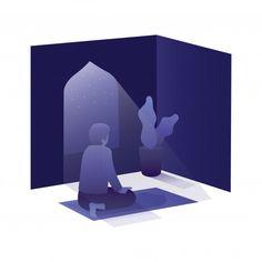 Ramadan Illustration With Man Pray In Mosque At Night Day Muslim Book, Muslim Pray, Man Praying, Muslim Ramadan, Black Phone Wallpaper, Ramadan Gifts, Isometric Design, Baby Groot, Day For Night