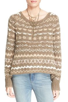 """NWT FREE PEOPLE MULTI-COLOR """"THROUGH THE STORM"""" LONG SLEEVE SWEATER SIZE M-$128 #FREEPEOPLE #ScoopNeck"""