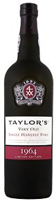 The Taylor's 1964 Single Harvest Port wine is a Port which comes from a single year and ages to full maturity in seasoned oak casks and display the year