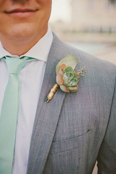 Bri and Josh's Wedding! succulent boutonniere, mint and gold wedding Mod Wedding, Wedding Groom, Wedding Suits, Wedding Attire, Wedding Bells, Wedding Stage, Boutonnieres, Succulent Boutonniere, Wedding Boutonniere