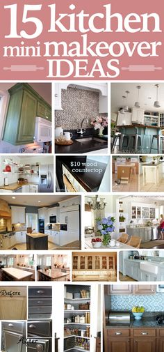 15 kitchen mini makeover ideas!  Wood Countertop: http://cleverlyinspired.com/2012/02/10-diy-wood-countertop-2/