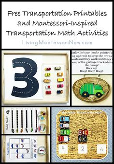 Long list of free transportation printables along with ideas for using free printables to create Montessori-inspired transportation math activities