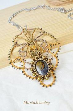 Gemstone macrame necklace micro-macrame jewelry jasper