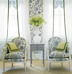 Sheers with banding and valance BEHIND the sheers.  Thibaut - Wallpaper and Fabric