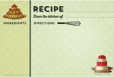 free vintage printable recipe cards (several styles)
