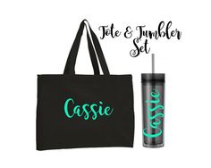 Tote and Tumbler Set Bridesmaid Gifts by WeddingsByLeann on Etsy