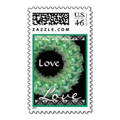 #GREEN & #WHITE #RoseWreath #Wedding #Lace #Stamp