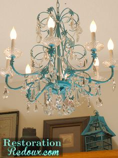DIY Chandelier Makeovers - Turquoise Chandelier Redo - Easy Ideas for Old Brass, Crystal and Ugly Gold Chandelier Makeover - Cool Before and After Projects for Chandeliers - Farmhouse, Shabby Chic and Chandelier Redo, Turquoise Chandelier, Vintage Chandelier, Spray Painted Chandelier, Metal Chandelier, Crystal Chandeliers, Habitat For Humanity, Luminaire Original, Home Decor Ideas
