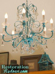 Vintage Turquoise Painted Chandelier http://www.restorationredoux.com/?p=578