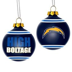 Perfect for the holidays -- San Diego Chargers Glass Ball Ornament