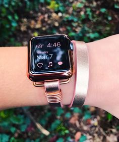 Please read full description and see photos prior to purchasing. This faux leather band is rose pink with a metallic rose gold finish on the surface. This band fits 38 mm and 42 mm Apple watch and comes with rose gold adapters unless requested otherwise. The wrap bracelet style band is