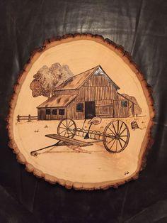 Barn with Rake wood burnt art