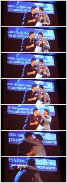 [gifset] Jensen and Misha acting the scene from Hitch with the fake kiss.  #Jensen  #Misha #JibCon14