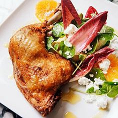 Impress family and friends with Crisp Chicken Confit. Although it takes a while to prepare, it is definitely a dish worth waiting for. This method for confit works for duck or rabbit too. Chicken Confit, Chicken Salad, Chicken Legs, Confit Recipes, Grilled Bread, How To Cook Chicken, The Best, Crisp, Recipes